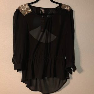 NWT fun and flirt sheer high low blouse